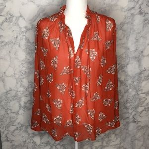 Loft | Orange Faraway Floral Blouse